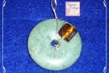 Amber glass and Jasper pendant