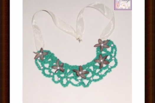 Boho Necklace - Teal- Bib -Bohemian - Pearls