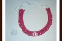 Bohemian necklace, pink, tigers eye, handmade America