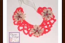 Boho necklace, red with tan flowers, handmade America