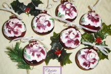 Hand Painted Red Glass Christmas Ornament, Roses Details Beautiful hand painted
